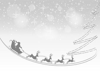 Noël - traineau et trace de sapin
