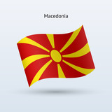 Macedonia flag waving form. Vector illustration.