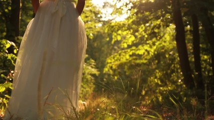 Young Female Model Vintage White Dress Walking Forest Smiling