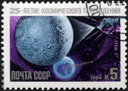 "stamp printed in USSR shows the ""Luna 3"" Satellite"