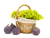 grapes and figs isolated on a white background close-up