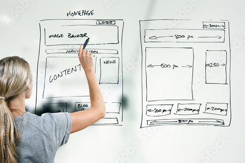 designer drawing website development wireframe - 56113011
