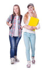 Pair of young students on white