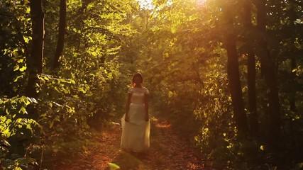Beautiful Female Model Bride Dress Walking Nature Smiling HD