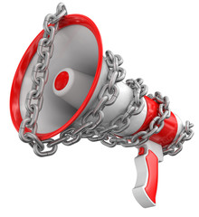 Megaphone and chain (clipping path included)