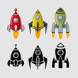 ������, ������: Spaceships set color and black