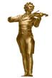 Leinwanddruck Bild - Johann Strauss Golden Statue on white