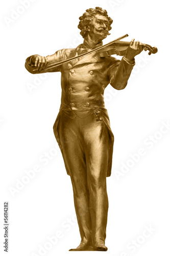 Leinwanddruck Bild Johann Strauss Golden Statue on white