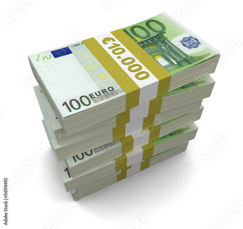 Pile of Euro (clipping path included)