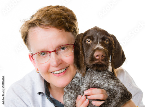 Puppy and woman