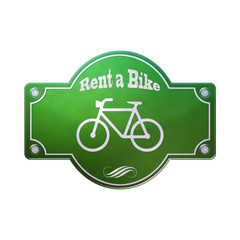 Schild Emaille - Rent a Bike