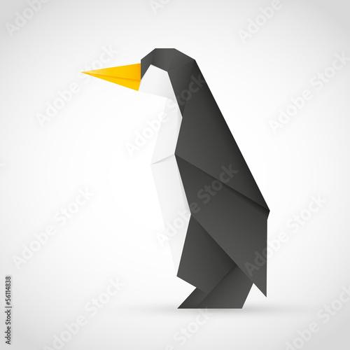 Deurstickers Geometrische dieren Origami Pinguin