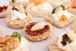 assortment of canape,toast