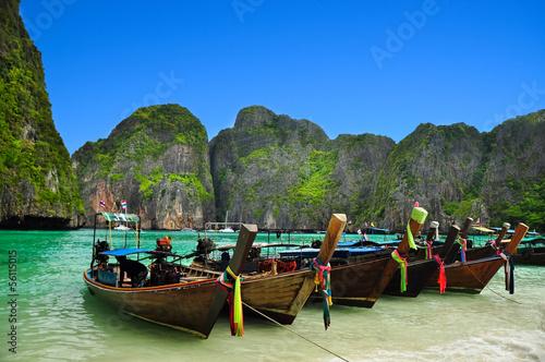 Beautiful beach and boat in phi phi island, Phuket, Thailand
