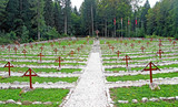 old Austrian Cemetery from World War I in the middle of the fore
