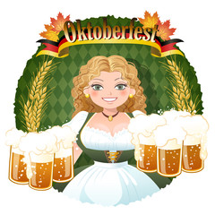 オクトーバーフェスト Bavarian Girl serving beer -  October fest