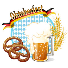 オクトーバーフェスト Oktoberfest Celebration banner with beer and pretzel