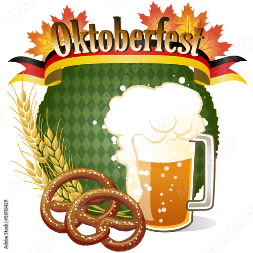 オクトーバーフェスト Oktoberfest Celebration design with beer and pretzel