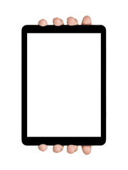 female teen hands showing generic tablet