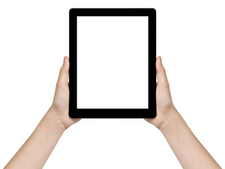 female teen hands holding generic tablet vertical