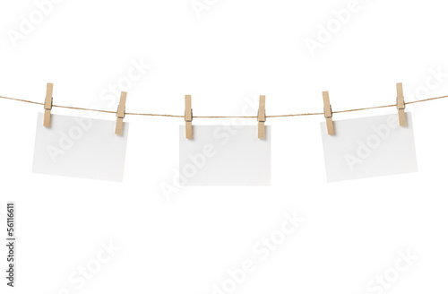 paper cards hanging on the rope