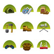 tourism equipment icon set