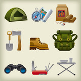 hike equipment icon set