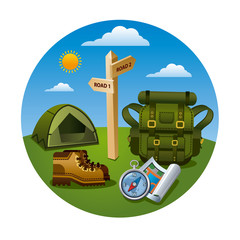 hiking tourism icon