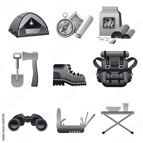 tourism equipment icon gray