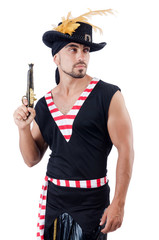 One eyed pirate isolated on the white