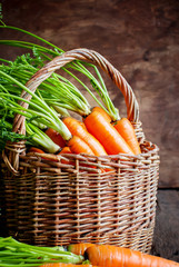 Fresh Organic Carrots in a basket on wooden background, vertical