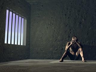 Sad prisoner - 3D render