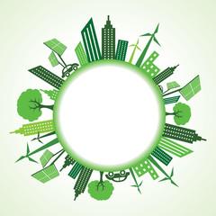 Eco cityscape around circle stock vector
