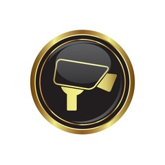 Surveillance camera icon on black with gold button