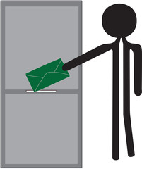 man with green enveloppe