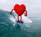 heart with arms and legs surfing on the sea