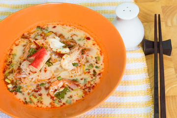 Tom Yum Seafood Noodle in Orange Bowl