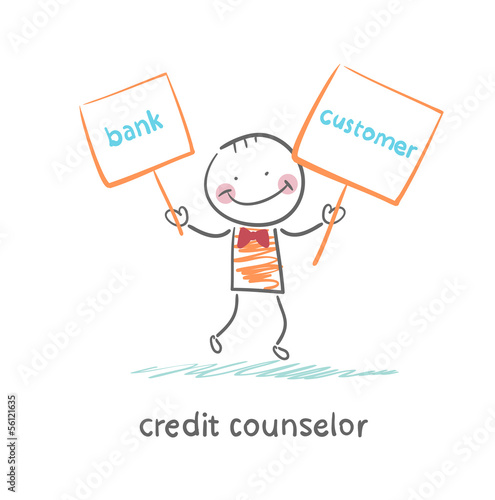 credit counselor holding a plate with the bank and the client