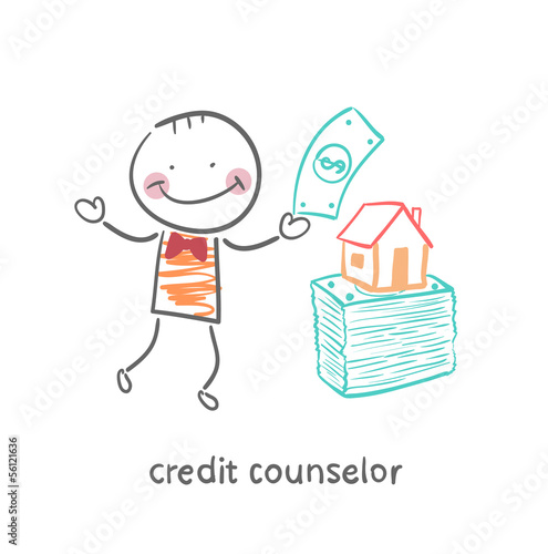 credit counselor near a bundle of money and the house