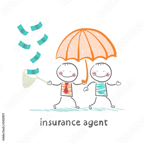 insurance agent protects human umbrella and collects a net cash