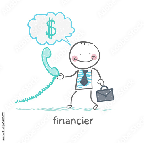 financier talking on the phone and thinks about money