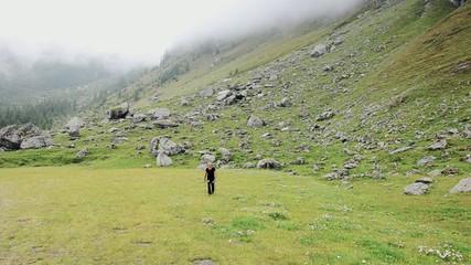 alpine landscape and nordic walking