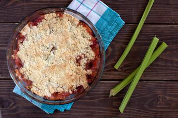 Rhubarb crumble tart