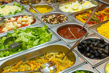 A colourful salad buffet in a restaurant