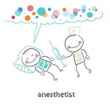 anesthesiologist with syringe next to a sleeping patient