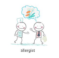 Allergist says to the patient's illness