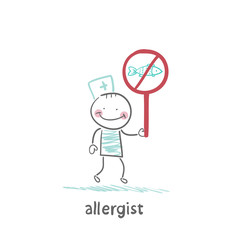 Allergist holds a sign prohibiting fish