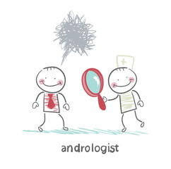 andrologist looking through a magnifying glass on a patient