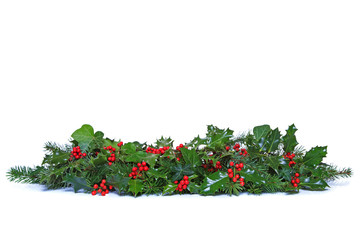Holly and Ivy Christmas garland isolated.