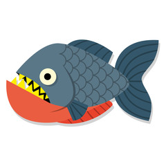Vector Funny Cartoon Pirahna Fish Isolated Icon